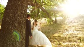 Boy and girl swing on a branch of an oak in the summer forest. Happy groom swinging on a swing the bride in the park in stock video footage