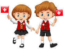 Boy and girl with Switzerland flag Stock Photography