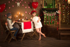 A boy and a girl  table in cafe, concept valentines day, backgro Stock Photography