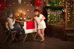 A boy and a girl  table in cafe, concept valentines day, backgro Royalty Free Stock Photography