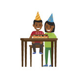 Boy and Girl at Table with Happy Birthday Cake. Boy sitting at table with birthday decorated cake with candles and elder girls stands near. Vector illustration stock illustration