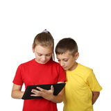 Boy and girl with tablet Royalty Free Stock Photography