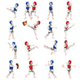 Boy and girl in taekwondo outfit Stock Image