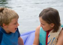 Boy and Girl Talking Royalty Free Stock Photography