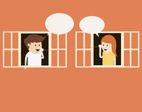 Boy and girl talking on cup telephone Royalty Free Stock Image