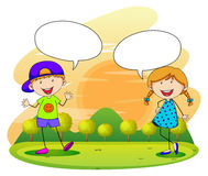 Boy and girl talking in the park Stock Photos