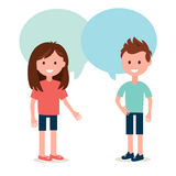 Boy and Girl Talking to Each Other. Conversation and Sharing Ideas Vector Illustration. Boy and Girl Talking to Each Other. Conversation, Speaking and Sharing vector illustration