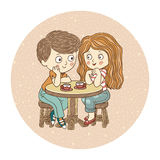Boy and girl: tea-party Stock Images