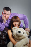 Boy, girl and teddy bear Royalty Free Stock Image