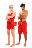 Boy Girl Teenager Lifeguards in Uniform Royalty Free Stock Images
