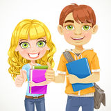 Boy and girl teenagers are ready for the new schoo Stock Images