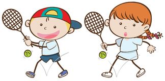 Boy and girl with tennis rackets royalty free illustration