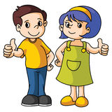 Boy and Girl thumb up Royalty Free Stock Photography