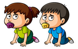 Boy and girl toddlers crawling on floor. Illustration Royalty Free Stock Image