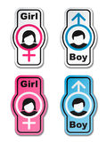 Boy girl toilet stickers Stock Images