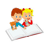 Boy and girl with toy and  book Stock Image