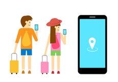 Boy and girl traveller use mobile app, vector art. Design vector illustration