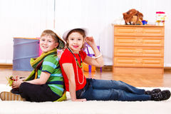 Boy and girl in trendy clothing Stock Photo