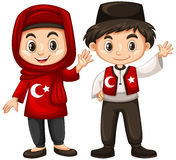 Boy and girl in Turkey costume Royalty Free Stock Image