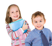 Boy and girl, two young students Stock Image