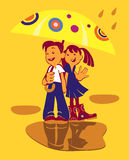 Boy and girl with umbrella. Two laughing children with an umbrella Royalty Free Stock Images