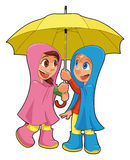 Boy and girl under the umbrella. Vector isolated characters Stock Photography