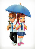 Boy and girl under an umbrella Stock Images