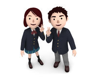 Boy and Girl uniformed school students. 3D illustration. Japanese school students happiness lifestyle. 3D illustration Stock Photo