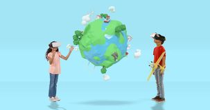 Boy and girl using virtual reality headset with digitally generated travel icons 4k