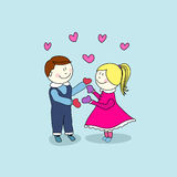 Boy and girl, valentine's day Stock Photo