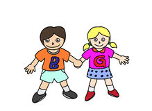 Boy and girl. Vector eps10. Stock Image