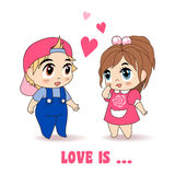 Boy And Girl, Vector Illustration Stock Photography