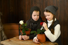 A boy with a girl in a vintage dress sitting at an old desk. looking at flowers. Cute a boy with a girl in a vintage dress sitting at an old desk. looking at Stock Images