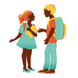 Boy and girl. Vintage student silhouettes   Stock Photography