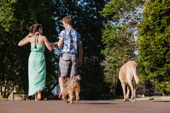 Boy Girl Walking Away Talking Dogs Royalty Free Stock Images