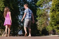 Boy Girl Walking Away Talking Laugh Stock Photos