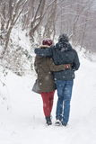 Boy and girl walking in the snow Royalty Free Stock Image