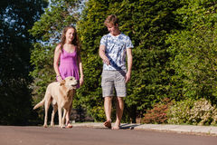 Boy Girl Walking Talking Dog Stock Images