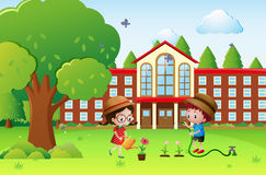 Boy and girl watering plants at school. Illustration Stock Images