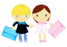 Boy and girl wearing primary school pinafore. Illustration of a little school girl and a school boy wearing primary school pinafore with school bag on white Royalty Free Stock Photography