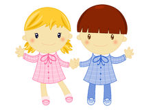 Boy and girl wearing primary school pinafore. Illustration of a little school girl and a school boy wearing primary school squared pink and blue pinafore on Royalty Free Stock Photo