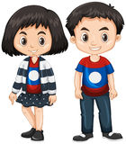 Boy and girl wearing shirt with Laos flag. Illustration Stock Photography