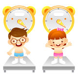 Boy and girl is weigh oneself. Education and life Character Desi Royalty Free Stock Photography