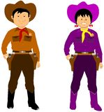 Boy and girl in western costumes. Cowgirl and cowboy in costumes over white Stock Images