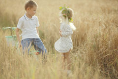 Boy and girl in wheat field Royalty Free Stock Photos