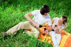 Boy and girl with wine on grass Stock Photography