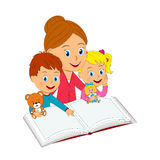Boy, girl and woman with book and toy Royalty Free Stock Photography
