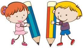 Boy and girl writing with big pencils. Illustration stock illustration