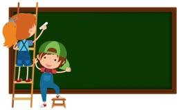 Boy and girl writing on blackboard. Illustration Stock Photography