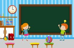 Boy and girl writing on blackboard in classroom. Illustration Royalty Free Stock Photography